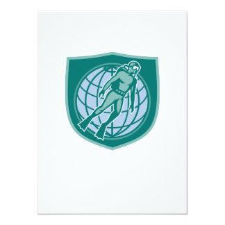 Escudo del mundo de la zambullida del salto del invitación personalizada