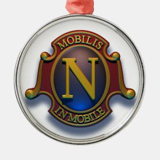 Escudo del nautilus N de David McCamant Adorno Redondo Plateado
