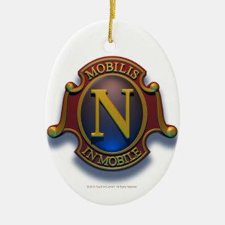 Escudo del nautilus N de David McCamant Adorno Ovalado De Cerámica