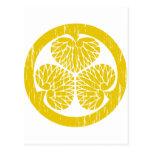 Escudo del oro de Tokugawa apenado Postal