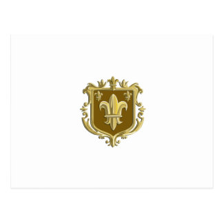 Escudo del oro del escudo de armas de la flor de postal