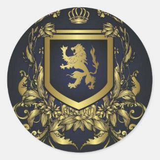 escudo del oro del midevil del vintage del grunge pegatina redonda