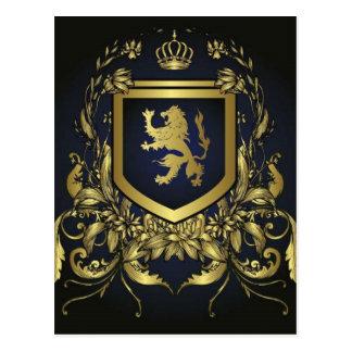 escudo del oro del midevil del vintage del grunge tarjeta postal