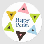 """""""Escudo del pegatina feliz de Hamantaschen"""" Purim"""