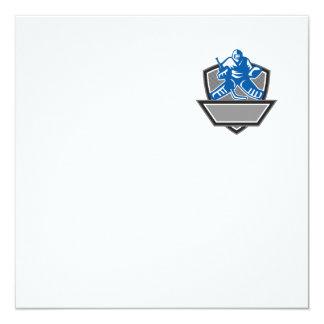 """Escudo del portero del hockey sobre hielo retro invitación 5.25"""" x 5.25"""""""
