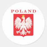 Escudo del rojo de Polonia Eagle Pegatinas Redondas