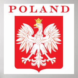 Escudo del rojo de Polonia Eagle Póster