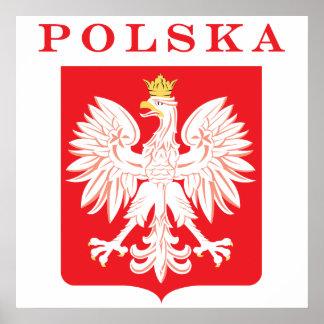 Escudo del rojo de Polska Eagle Póster