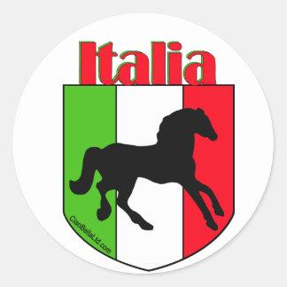 Escudo del semental de Italia Pegatina Redonda