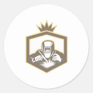 Escudo del soplete del fabricante del soldador etiquetas redondas
