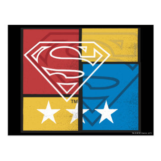 Escudo del superhombre con las estrellas tarjetas postales
