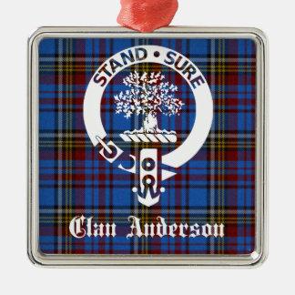 Escudo del tartán de Anderson del clan Adorno Navideño Cuadrado De Metal