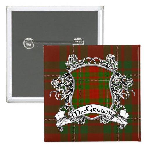 Escudo del tartán de MacGregor Pin Cuadrado