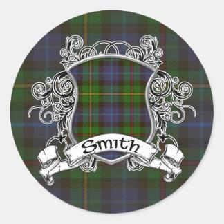Escudo del tartán de Smith Pegatina Redonda