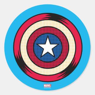 Escudo del tono medio de capitán América Pegatina Redonda