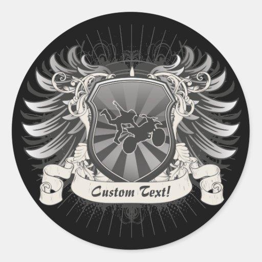 Escudo del truco del motocrós pegatina redonda