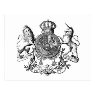Escudo del unicornio del lomo tarjeta postal