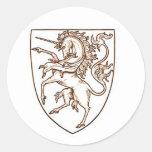 escudo del unicornio pegatina redonda