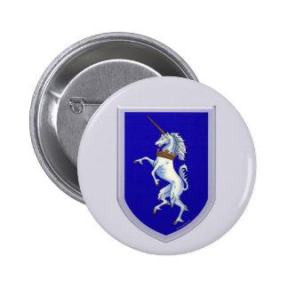 Escudo del unicornio pin redondo 5 cm