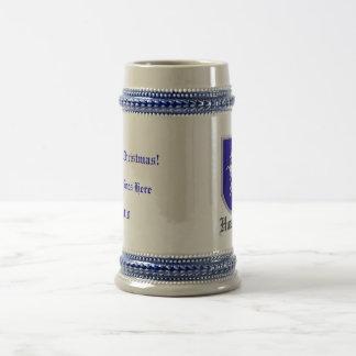Escudo desenfrenado blanco del unicornio jarra de cerveza