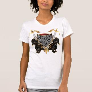 Escudo en oro y negro con los cráneos camisetas