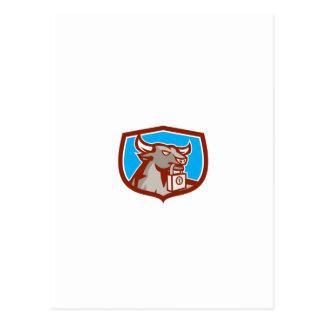 Escudo enojado del candado de la cabeza de Bull Tarjetas Postales