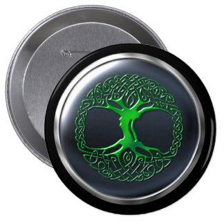Escudo esmeralda del guerrero del druida pin redondo de 4 pulgadas