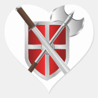 Escudo. Espada y hacha Pegatina En Forma De Corazón