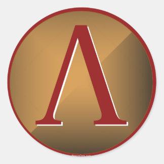 Escudo espartano de la lambda pegatina redonda
