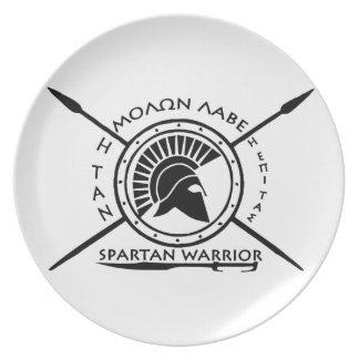 Escudo espartano del guerrero plato de cena