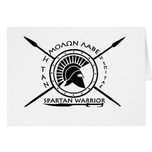 Escudo espartano del guerrero tarjeta de felicitación