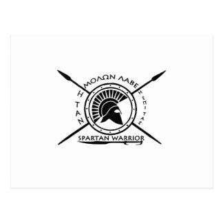 Escudo espartano del guerrero tarjeta postal