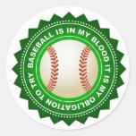 Escudo fantástico del béisbol pegatina redonda