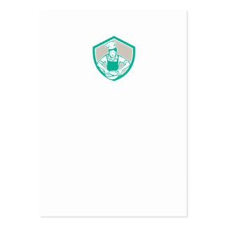 Escudo femenino del bol grande del cocinero retro tarjeta de negocio