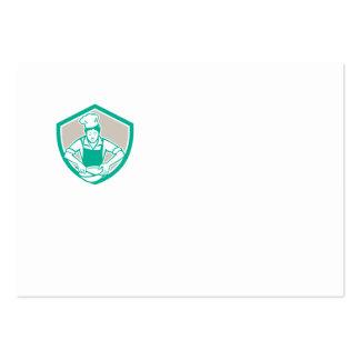 Escudo femenino del bol grande del cocinero retro plantillas de tarjeta de negocio