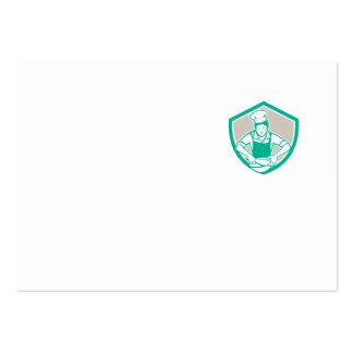 Escudo femenino del bol grande del cocinero retro plantilla de tarjeta personal
