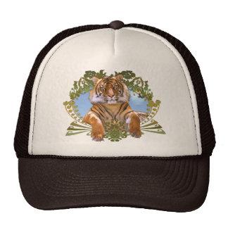 Escudo feroz del tigre en peligro gorras de camionero