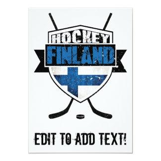 """Escudo finlandés Suomi del hockey Invitación 5"""" X 7"""""""