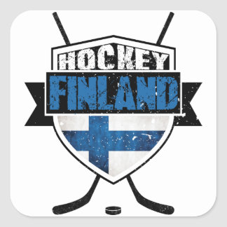 Escudo finlandés Suomi del hockey Calcomanía Cuadradas Personalizadas