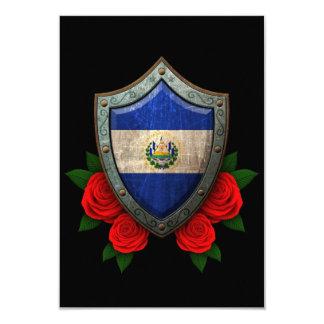 """Escudo gastado de la bandera de El Salvador con Invitación 3.5"""" X 5"""""""