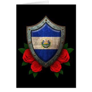Escudo gastado de la bandera de El Salvador con lo Tarjeta De Felicitación