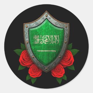 Escudo gastado de la bandera de la Arabia Saudita Pegatina Redonda