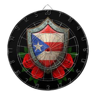 Escudo gastado de la bandera de Puerto Rico con lo Tablero De Dardos