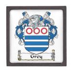 Escudo gris de la familia cajas de recuerdo de calidad