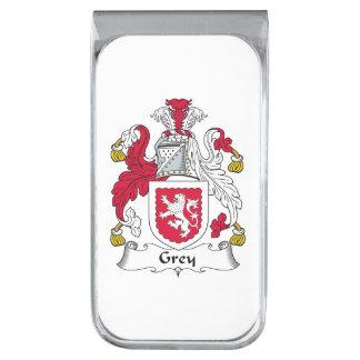 Escudo gris de la familia clip para billetes plateado