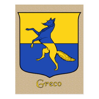 Escudo heráldico de la familia de Greco Tarjetas Postales