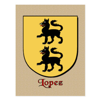 Escudo heráldico de la familia de López Tarjeta Postal
