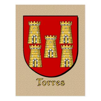 Escudo heráldico de la familia de Torres Tarjeta Postal