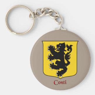 Escudo histórico del apellido italiano de Conti Llavero Redondo Tipo Pin