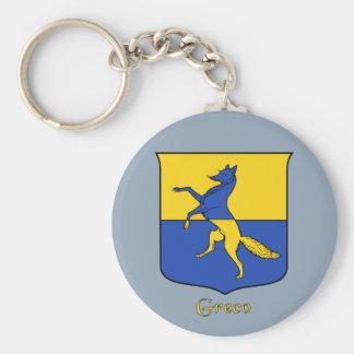 Escudo histórico del apellido italiano de Greco Llavero Redondo Tipo Pin